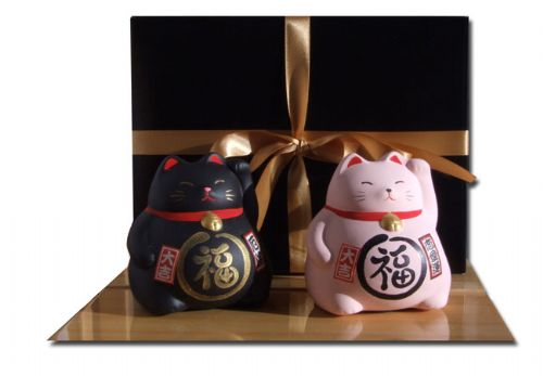 Gift Set - Japanese Maneki Neko Lucky Cats X2 Pink and Black medium size
